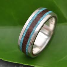mens wood wedding bands lados turquoise and nacascolo wood ring ecofriendly wood wedding