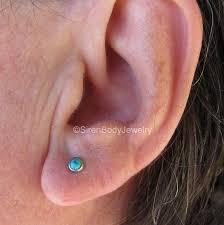 flat back earrings daith heart piercing earring paved silver gemstones 16g 3 8 316l ss
