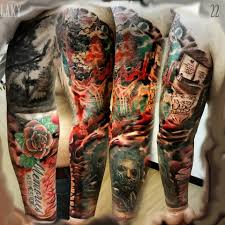 36 black and grey full sleeve tattoos