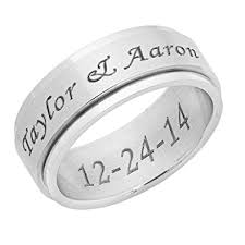 Engraving Jewelry Amazon Com Personalized 8mm Stainless Steel Spinner Ring Free