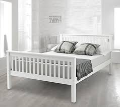 king size wooden white bed frame amazon co uk