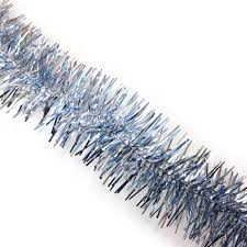 jaclyn smith midnight clear light blue and silver tinsel garland