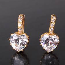 heart shaped diamond earrings heart shaped diamond cz solitaire hoop earrings in white or yellow