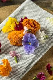 organic edible flowers organic edible flowers ready to eat stock photo picture and