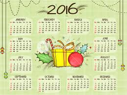 creative 2016 yearly calendar with ornaments for happy