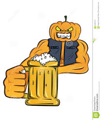 beer cartoon mister pumpkin holding glass of beer cartoon stock vector image