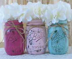 jar baby shower centerpieces sale set of 3 pint jars painted jars rustic