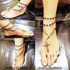 18 blessed cross rosary ankle tattoos