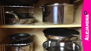 How To Organize Kitchen Cabinet by How To Organize Pots Pans U0026 Lids In The Kitchen Youtube