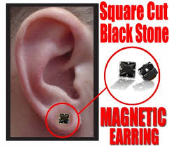 magnetic earrings magnetic earrings black onyx pair of square cut earrings