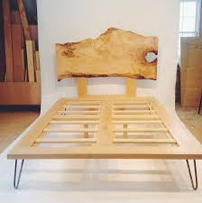 Wood Bed Legs Hairpin Leg Bed With Live Edge Headboard For The Home