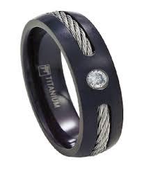 black titanium wedding bands black titanium wedding band for men cz and cable accents 7mm