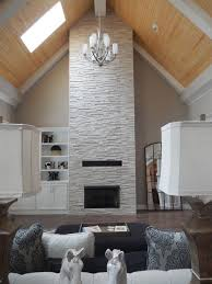 realstone tile fireplace provided by louisville tile vaulted