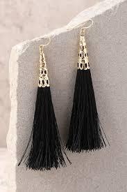 black earrings chic black earrings tassel earrings fringe earrings