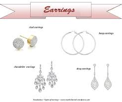 different types of earrings a vocabulary post for the types of earrings and make up
