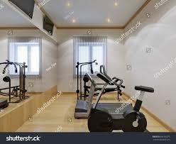 home gym interior fitness equipment large stock illustration