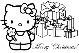 coloring page christmas hello kitty and christmas tree coloring