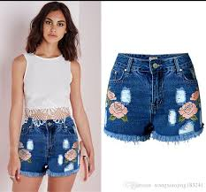 2018 ripped high waisted jeans shorts for women summer blue skinny