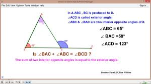 What Is Interior And Exterior Angles Sum Of Interior Angles Is Equal To Exterior Angle Youtube