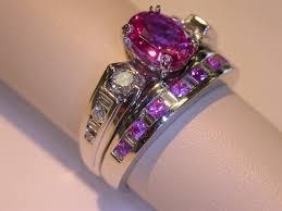 gemstones wedding rings images Pink sapphire wedding set by amberdreams jpg