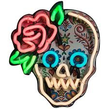 sugar skulls for sale mexican sugar skull with neon outline and detail at 1stdibs
