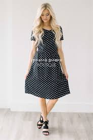black white polka dot dress modest summer dress cute modest