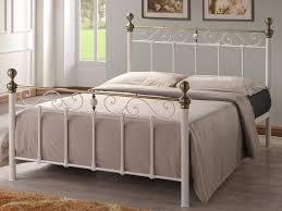 Antique Metal Bed Frame Omeros 5ft Kingsize Cream Metal Bed Frame With Antique Brass