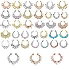 aliexpress nose rings images Top quality mixed designs fake nose ring septum clip on body jpg