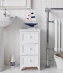 White Bathroom Storage Drawers Maine Slim Freestanding Bathroom Cabinet With 3 Drawers For Storage
