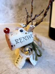 rudolph reindeer wine cork ornament in sage green the crafty
