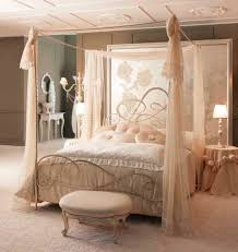 bedroom romantic white bed with thick mattress in drapery bed