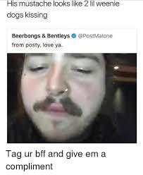 Meme Moustache - his mustache looks like 2 lil weenie dogs kissing beerbongs