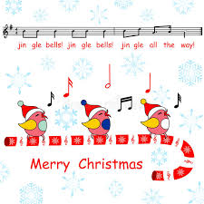 merry card said the jingle bells song birds stock photo