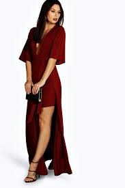 maxi dress with sleeves celyn slinky plunge kimono sleeve maxi dress boohoo