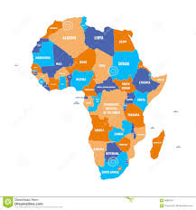 Political Map Africa by Multicolored Political Map Of Africa Continent With National