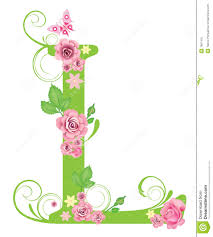 letter l with roses stock vector image of symbol spell 7967416
