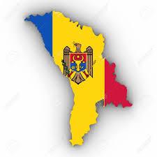 Moldova Flag Moldova Map Outline With Moldovan Flag On White With Shadows 3d