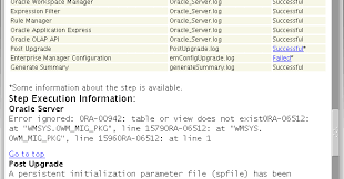 Ora 00942 Table Or View Does Not Exist A Help Ora 00942 For Wmsys Owm Mig Pkg When Upgrading From 11 2