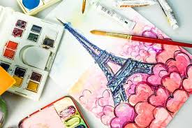 eiffel tower watercolor painting u2013 stock editorial photo
