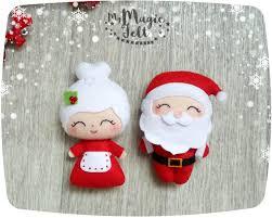 christmas ornaments santa and mrs claus ornament felt santa