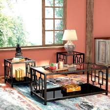 Glass Coffee Table Sets Youll Love Wayfair - Living room table set