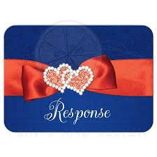 White Blue Orange Flag Wedding Rsvp Card 2 Royal Blue Orange White Floral Joined