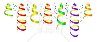 party streamers background with party streamers and confetti royalty free vector