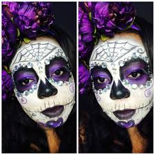 Halloween Skull Face Makeup by Glam Sugar Skull Makeup For Dark Skin Makeup For Dark Skinned