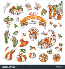 vector set thanksgiving design elements traditional stock vector