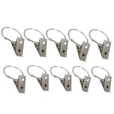 Curtain Hook With Clip 10pcs Metal Hooks Window Curtain Rod Clip Drapery Rings In