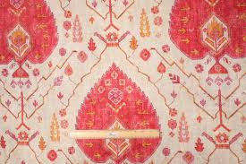 Red Drapery Fabric Richloom Platinum Collection Aubusson Printed Linen Drapery Fabric