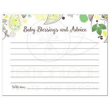 advice cards yellow and green paisley baby blessings and advice card