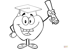 happy apple graduate holding a diploma coloring page free