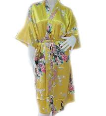 amazon com 100 silk robe japanese geisha design yellow